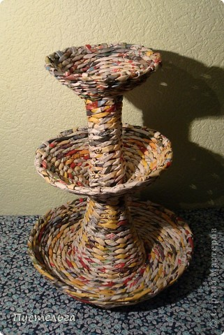 Мастер-класс, Поделка, изделие Плетение: Фруктовница-конфетница-печенюшница Бумага газетная. Фото 21