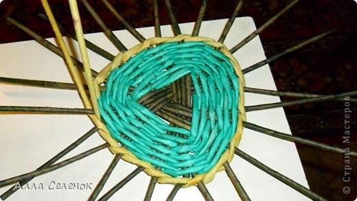 Мастер-класс Плетение: Плетение треугольного дна+МК к нему. Бумага газетная, Трубочки бумажные. Фото 5