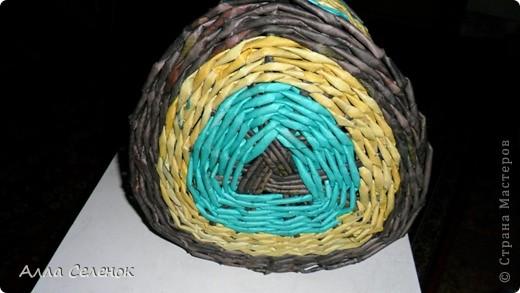 Мастер-класс Плетение: Плетение треугольного дна+МК к нему. Бумага газетная, Трубочки бумажные. Фото 9