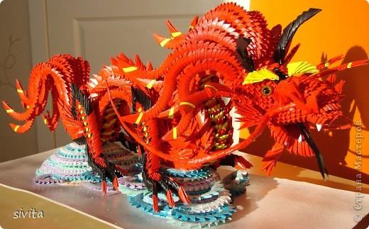 Поделка, изделие Оригами модульное: Дракон. Символ наступающего года! Бумага Новый год. Фото 8
