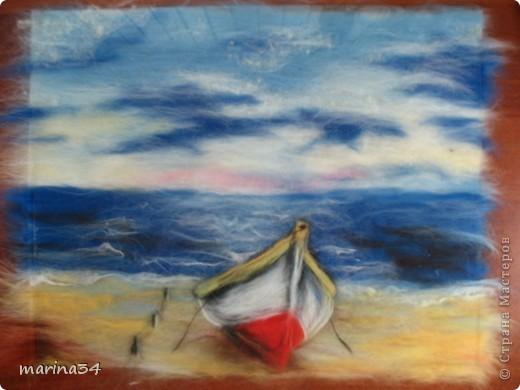 Мастер-класс Валяние (фильцевание): лодка,картина из шерсти Шерсть. Фото 1