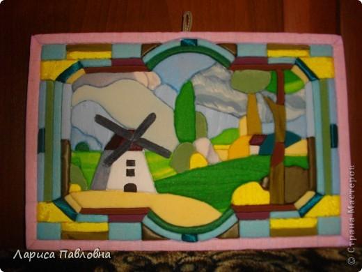 Картина, панно, рисунок Пэчворк: пэчворк без иголки Ткань. Фото  1