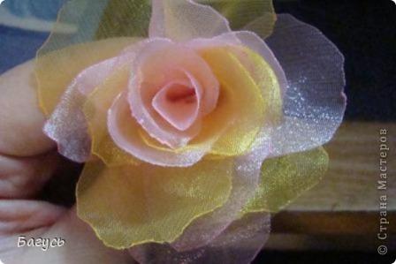 Мастер-класс, Украшение Шитьё: Цветок из органзы  Капрон. Фото 6