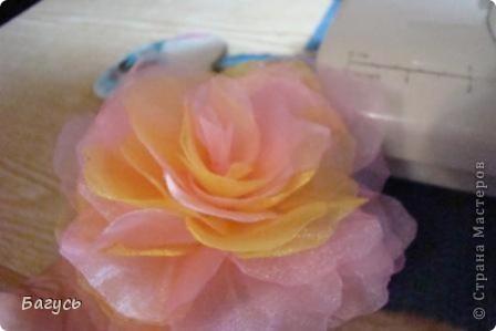 Мастер-класс, Украшение Шитьё: Цветок из органзы  Капрон. Фото 7
