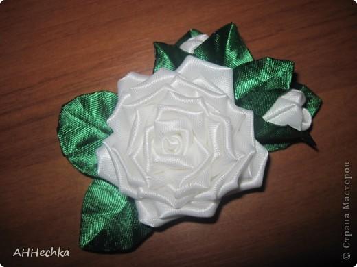Мастер-класс, Поделка, изделие Цумами Канзаши: Роза+листочки МК Клей, Ленты. Фото 1