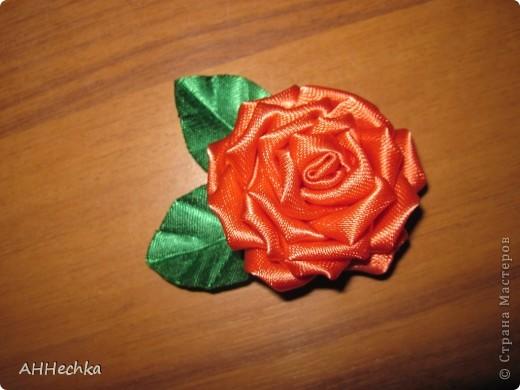 Мастер-класс, Поделка, изделие Цумами Канзаши: Роза+листочки МК Клей, Ленты. Фото 13