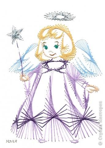 Поделка, изделие Изонить: ангелы Картон Рождество. Фото 4