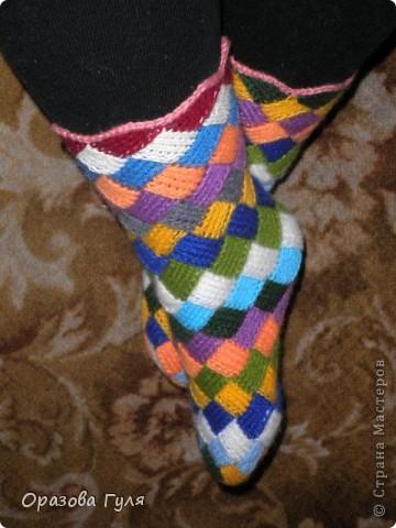 Вязанные носки пэчворк