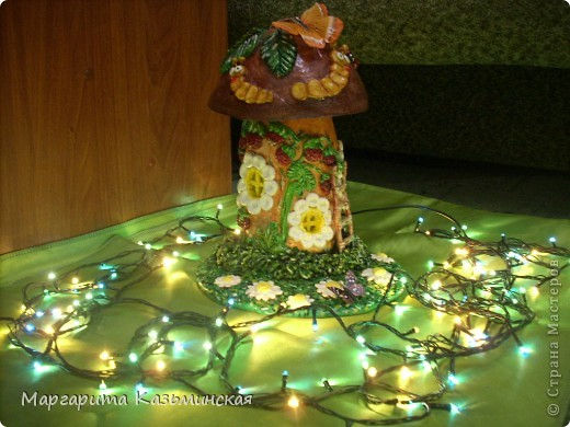 Поделка, изделие Лепка: домик(для насекомых)-грибок-светильник