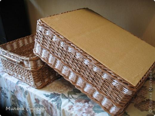 Поделка, изделие Плетение: Короб для хранения-2, МК ручки и верха Бумага, Бумага газетная, Бумажные полосы, Картон, Клей, Прищепки. Фото 6