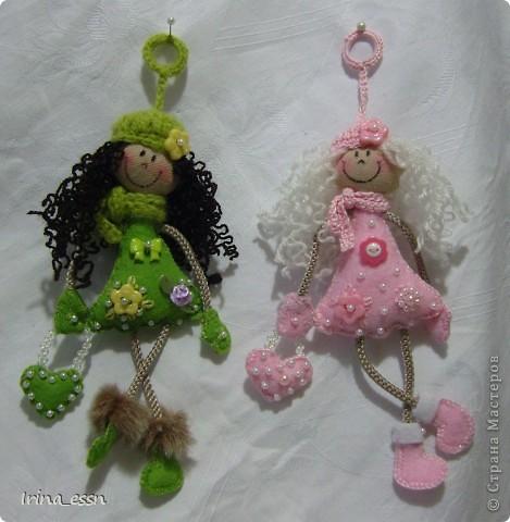 Игрушка, Куклы Шитьё: Куколки-брелоки Ткань Валентинов день. Фото 1