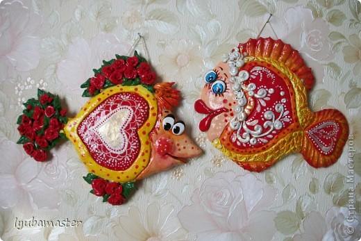 Поделка, изделие Лепка: рыбы сердечные для души Тесто соленое Валентинов день. Фото 1