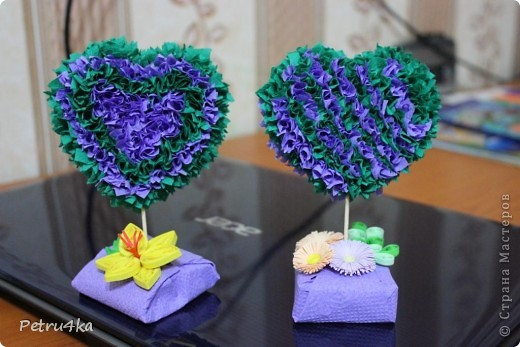 Мастер-класс Торцевание: Сердечки + мини МК Бумага Валентинов день. Фото 1