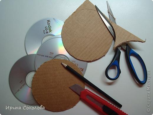 Декор предметов, Мастер-класс Декупаж: Подставки под чашки из CD- дисков Диски компьютерные, Картон, Клей, Краска, Салфетки 23 февраля, 8 марта. Фото 2
