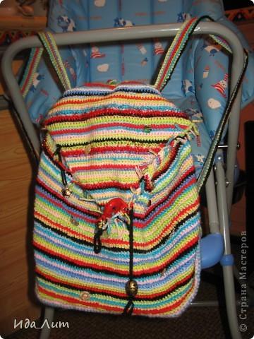 Гардероб Вязание крючком: Вязанный рюкзачок в стиле хиппи:) Нитки.