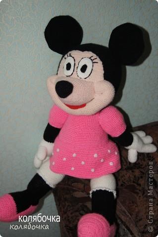 Игрушка Вязание крючком: Мышка Мини-Маус.  Пряжа.  Фото 2.