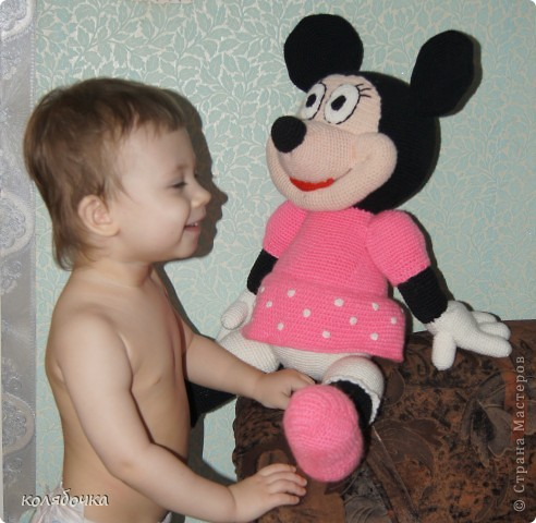 Игрушка Вязание крючком: Мышка Мини-Маус.  Пряжа.  Фото 3.