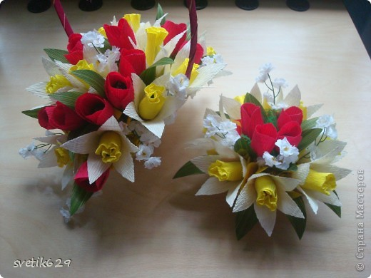 Мастер-класс Бумагопластика: МК Тюльпаны и нарциссы  Ленты 8 марта. Фото 1