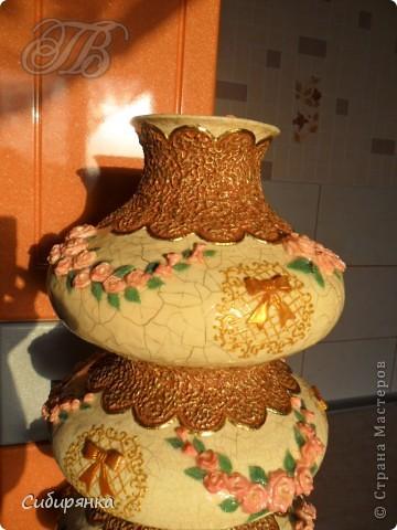 """Приветствую всех жителей """"Страны мастеров""""!   Хочу показать вам вазу из папье-маше.Это первое моё творение и сделана  она, для украшения моего интерьера. Высота вазы 60см, в диаметре 25см.  Очень хотелось приблизить к фарфору, но навыка нет. Натуральный цвет,  сфотографировать мне не удалось.. Фото 2"""