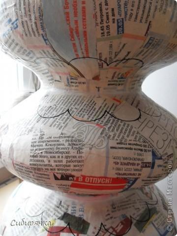 Декор предметов, Мастер-класс, Поделка, изделие Лепка, Папье-маше: Напольная ваза из папье-маше. МК. Бумага газетная, Клей, Краска, Фарфор холодный. Фото 8