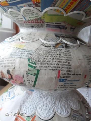 Декор предметов, Мастер-класс, Поделка, изделие Лепка, Папье-маше: Напольная ваза из папье-маше. МК. Бумага газетная, Клей, Краска, Фарфор холодный. Фото 9