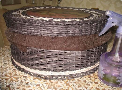Мастер-класс Декупаж, Плетение: Шляпная коробка Бумага газетная, Салфетки. Фото 12