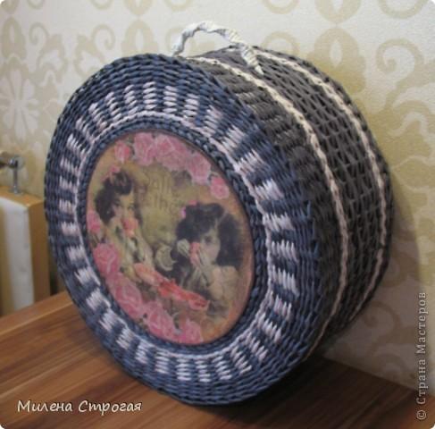 Мастер-класс Декупаж, Плетение: Шляпная коробка Бумага газетная, Салфетки. Фото 13