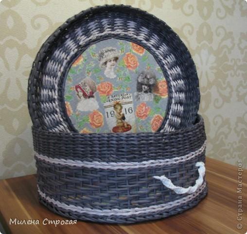 Мастер-класс Декупаж, Плетение: Шляпная коробка Бумага газетная, Салфетки. Фото 15