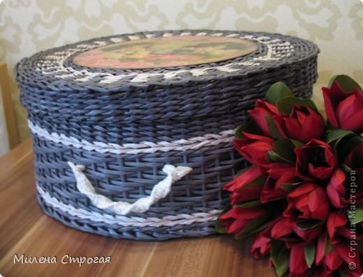 Мастер-класс Декупаж, Плетение: Шляпная коробка Бумага газетная, Салфетки. Фото 16