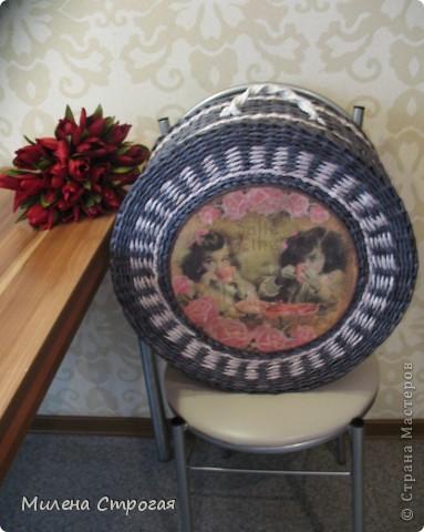 Мастер-класс Декупаж, Плетение: Шляпная коробка Бумага газетная, Салфетки. Фото 17