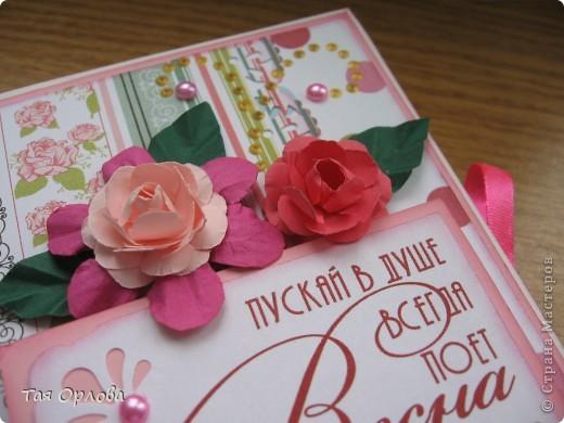 Открытка, Упаковка Аппликация, Ассамбляж: Для учителя к 8 Марта Бумага, Бусинки, Ленты 8 марта. Фото 3