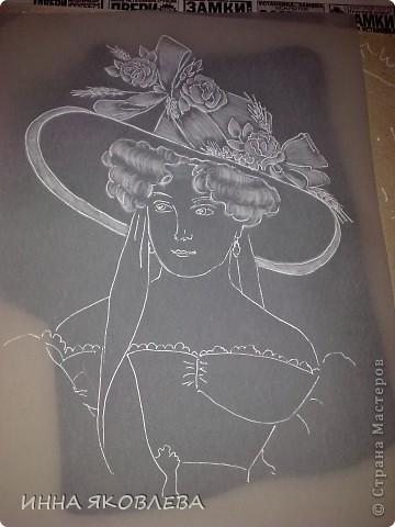 Картина, рисунок, панно, Мастер-класс Пергамано: Портрет в технике пергамано.Формат А4 Бумага. Фото 3