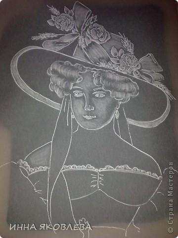 Картина, рисунок, панно, Мастер-класс Пергамано: Портрет в технике пергамано.Формат А4 Бумага. Фото 4
