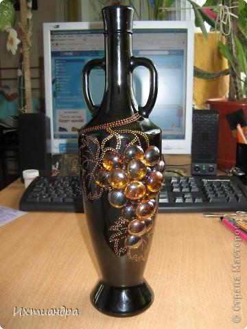 Декор предметов Роспись: Бутыль с янтарным виноградом Краска, Стекло. Фото 6