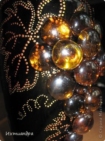 Декор предметов Роспись: Бутыль с янтарным виноградом Краска, Стекло. Фото 7