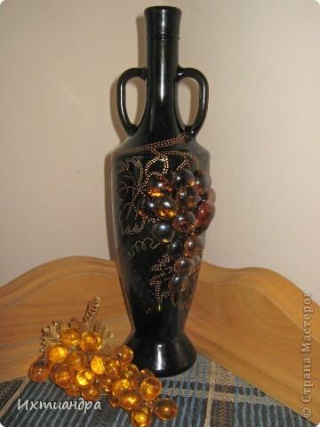 Декор предметов Роспись: Бутыль с янтарным виноградом Краска, Стекло. Фото 8