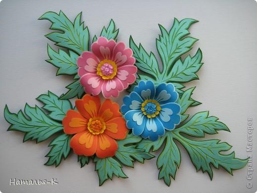 Поделка, изделие Бумагопластика: Цветы.  Картон. Фото 1