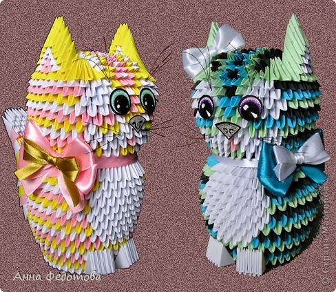Мастер-класс, Поделка, изделие Оригами модульное: Цветные котики из модулей Бумага. Фото 1