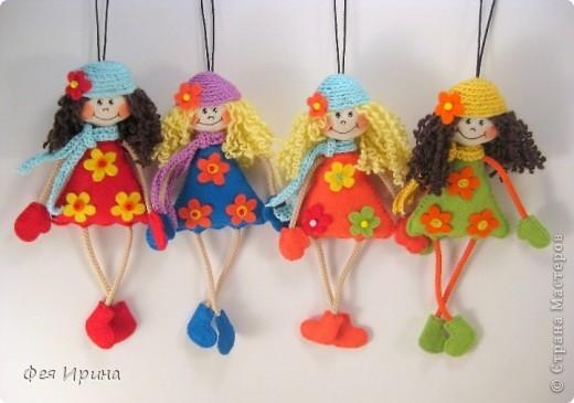 """Игрушка, Куклы Вязание крючком, Шитьё: """"Висюльки"""" :) Девчушки и котишки. Бисер, Бусинки, Ленты, Пряжа, Ткань. Фото 1"""