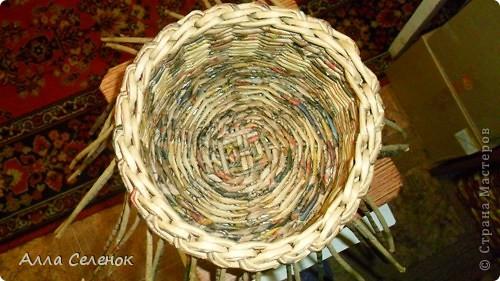 Мастер-класс, Поделка, изделие Плетение: Мои плетеночки.Небольшой МК на загибку. Бумага газетная. Фото 8