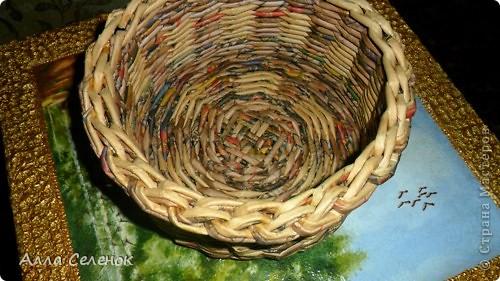 Мастер-класс, Поделка, изделие Плетение: Мои плетеночки.Небольшой МК на загибку. Бумага газетная. Фото 10