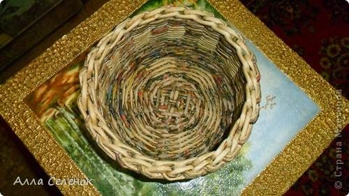 Мастер-класс, Поделка, изделие Плетение: Мои плетеночки.Небольшой МК на загибку. Бумага газетная. Фото 11