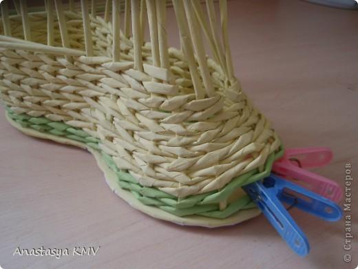 Мастер-класс, Поделка, изделие Плетение: Башмак плетеный из бумаги МК (мастер-класс). Бумага. Фото 12