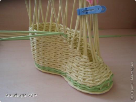 Мастер-класс, Поделка, изделие Плетение: Башмак плетеный из бумаги МК (мастер-класс). Бумага. Фото 13