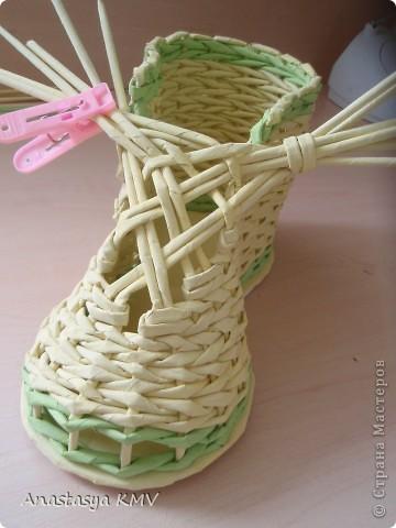 Мастер-класс, Поделка, изделие Плетение: Башмак плетеный из бумаги МК (мастер-класс). Бумага. Фото 15