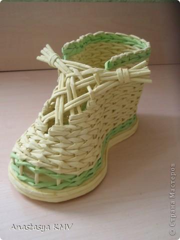Мастер-класс, Поделка, изделие Плетение: Башмак плетеный из бумаги МК (мастер-класс). Бумага. Фото 1