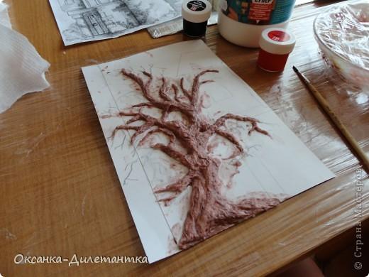 Мастер-класс Вырезание, Папье-маше: МК по созданию объемного дерева (много фото!) Бумага, Гуашь, Салфетки. Фото 5
