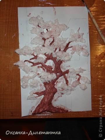 Мастер-класс Вырезание, Папье-маше: МК по созданию объемного дерева (много фото!) Бумага, Гуашь, Салфетки. Фото 6