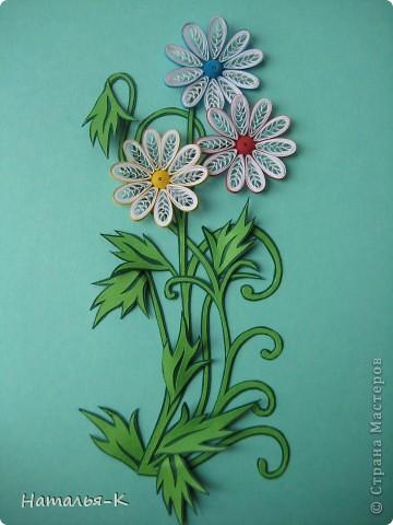 Открытка Бумагопластика, Квиллинг: Цветы. Бумажные полосы, Картон. Фото 1