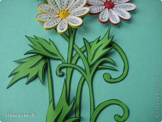 Открытка Бумагопластика, Квиллинг: Цветы. Бумажные полосы, Картон. Фото 3
